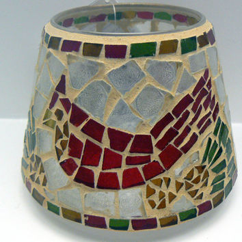 Home Interior Red Cardinal Mosaic Glass Candle Shade 57031 Home Interiors Bird Red Green Gold Mosaics