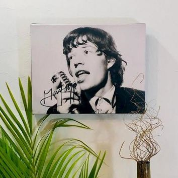Mick Jagger Rolling Stones Autographed RP 11x14 Canvas Print Great Gift