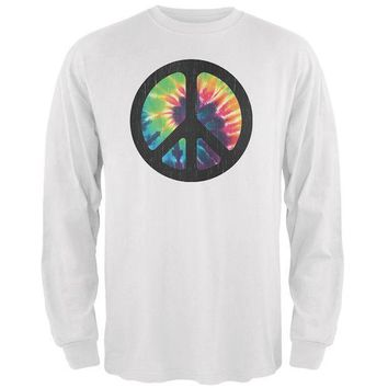 PEAPGQ9 Tie Dye Peace Sign Distressed Halftone Mens Long Sleeve T Shirt