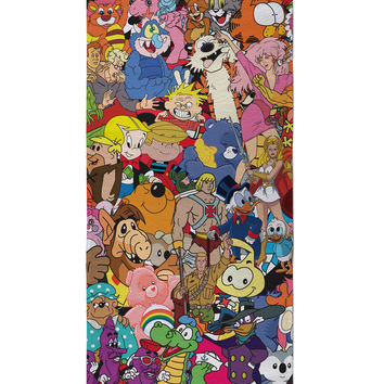 80's Cartoon Collage Beach Towel