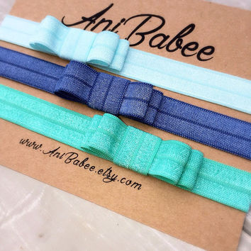 Baby headband, Teal baby headband,Baby bow headbands, baby headband set, shabby chic, girls headband, teen, womens, infant headband