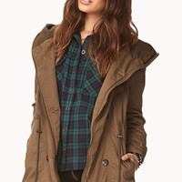 FOREVER 21 Snow Bunny Hooded Utility Jacket Taupe Small