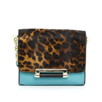 Leopard Print Cross-body Bag in Turquoise