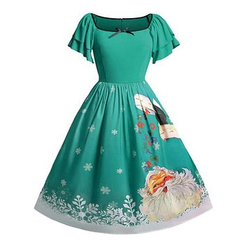 Plus Size 5XL Christmas Mini Ball Gown Dress Women Xmas Dress Oversize Butterfly Sleeve Bow Santa Claus Print Vintage Dress