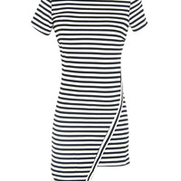 Monochrome Stripe Asymmetric Dress
