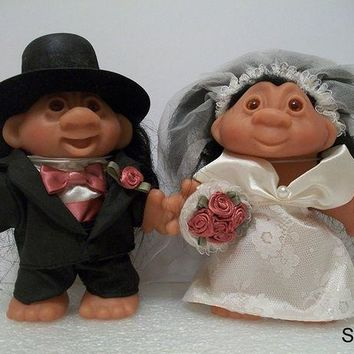 ONETOW Dam Troll Dolls - Wedding - Groom and Bride