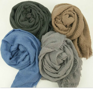 New bubble plain scarf/winter scarves fringes women soft solid hijabs shawls big pashmina girls muslim wrap men cotton scarf