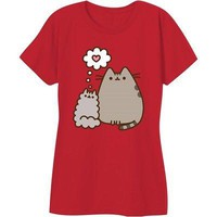 Pusheen The Cat Kitty Love Heart Licensed Women's Junior T-Shirt - Red