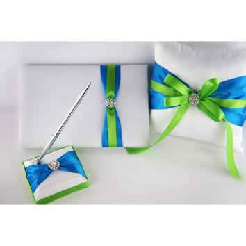 Ring Pillow, Flower Basket, Guest Book and Pen set - Turquoise and Apple Green