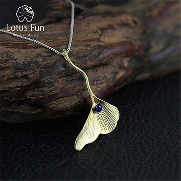 Lotus Fun Real 925 Sterling Silver Natural Lapis Handmade Fine Jewelry Ginkgo Leaf Pendant without Chain Acessorios for Women