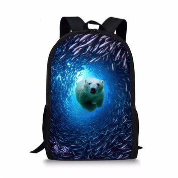 Cool Backpack school FORUDESIGNS Blue Primary Girls Boys Animal Shark Dolphin Backpack Cool High School Children Kids Bagpack Personalized Knapsack AT_52_3