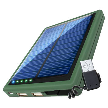 5000 Solar Charger Battery Pack Dual USB Charging Ports & Built-In Stowaway USB Cable by ReVIVE