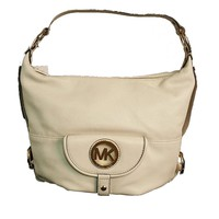 Michael Kors Fulton Large Vanilla Off-White Leather Shoulder Bag