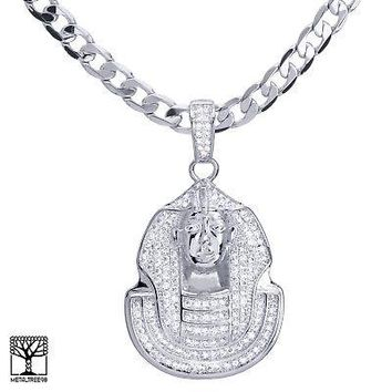 "Jewelry Kay style Men's Silver Plated CZ Egyptian Pharaoh Pendant 24"" Chain Necklace BCH 13128 S"