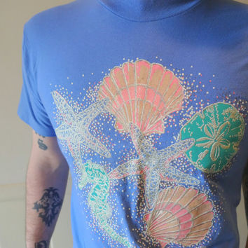 Vintage Starfish and Glittery Seashell T-Shirt 1993
