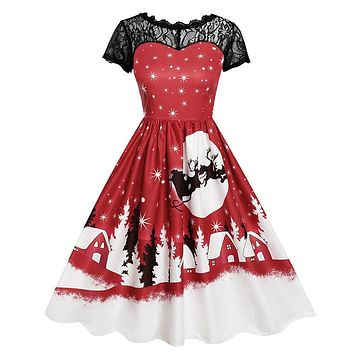 Dress Women vestidos Ladies winter Sexy Dress Vintage Lace Short Sleeve Print Christmas Party Swing Dress