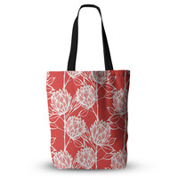 """Gill Eggleston """"Protea Strawberry White"""" Red Flowers Everything Tote Bag"""
