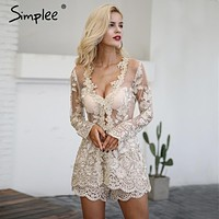 Simplee Sparkling sexy jumpsuit romper Floral gold elegant jumpsuit women playsuit Backless hollow out short overalls