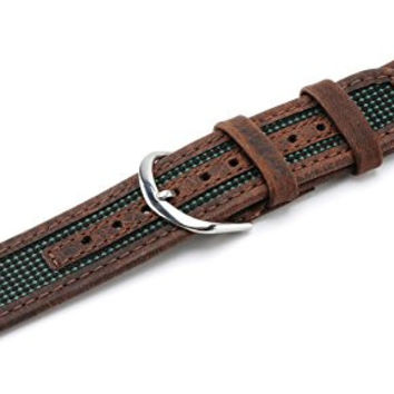 Watch Band 18mm Genuine Leather/Nylon Brown/Green watch band Replacement , Fits Timex Expedition, By United Watchbands
