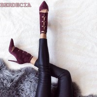 New fashion wine red hollow out pointed toe stiletto heels lace up suede high quality short boots dress woman ankle boots