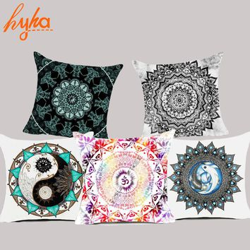 Hyha Mandala Polyester Cushion Cover Bohemian Geometric Pillow Case Tai chi Home Decorative Pillow Cover For Sofa Car almofada