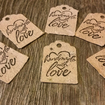 Handmade with Love Rustic Gift Tags, Rustic Beveled Gift Tags, Autumn Gift Tags, Thanksgiving Gift Tags, Christmas Gift Tags
