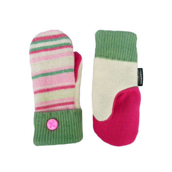 SWEATER MITTENS Wool Mittens Recycled Mittens Sweaty Mitts Women's Pink Green Ivory Handmade in Wisconsin Gift Upcycled Stripes Fleece Lined