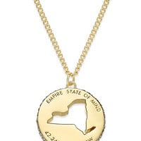 kate spade new york State Of Mind Gold-Tone State Cutout Pendant Necklace | macys.com