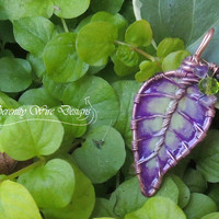 Purple and Green Leaf Necklace