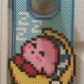 Sleeping Kirby Perler Bead Door Hanger
