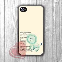 Hakuna Matata Lion Quotes -end for iPhone 6S case, iPhone 5s case, iPhone 6 case, iPhone 4S, Samsung S6 Edge
