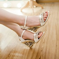 Women Ankle Strap Buckle Rhinestone Wedge Sandals 9305