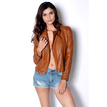 Women Automotive Jackets By Air High Quality Simple Women's Biker Leather Coats Designer Clothes Female PU Overcoats Casual C679