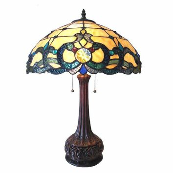 "Doutzen, Tiffany-Style 2 Light Victorian Table Lamp 18"" Shade"