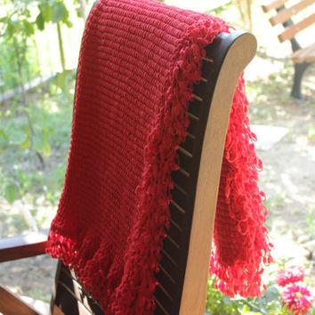 Red Pompom Baby Blanket - Super Soft Blanket - Baby Boy - Baby Girl - Baby Shower Gift