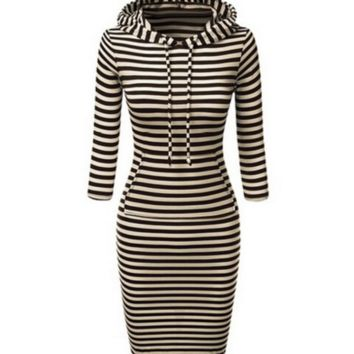Striped Hooded Bodycon Dress For Women