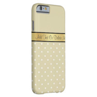 Gold Monogram Chic Warm Cream Tan White Polka Dots iPhone 6 Case