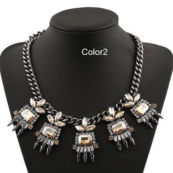 Statement Necklace Chunky Statement Necklace Bib Collar Necklace Rhinestone Necklace Cluster Necklace Women Prom Necklace Jewelry Girl Gift