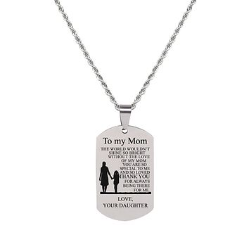 Sentiment Tag Necklace - TO MOM FROM DAUGHTER