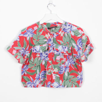 Vintage 80s Crop Top Red Tropical Hawaiian Floral Print Cropped Top 1980s Summer Festival Boxy Shirt Blouse Hipster New Wave Beach M Medium