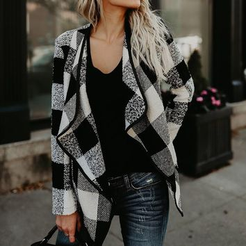 Women Blazers Coat 2018 Spring Winter Check&Plaid Vintage Cardigan Long Sleeve Casual Asymmetric Wool Coat Jacket Loose Outwear