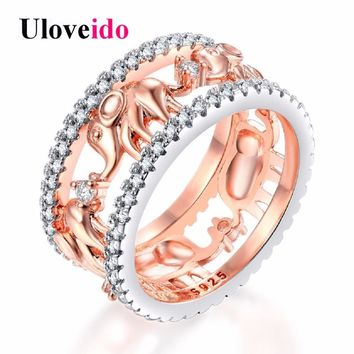 Uloveido Elephant Rings for Women Cubic Zirconia Rose Gold Color Engagement Ring Female Wedding Jewellery Valentines Day RA083