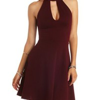 Chevron-Textured Cut-Out Halter Skater Dress - Wine