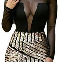 Mesh top gold bottom dress
