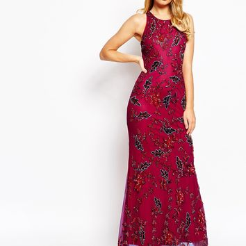 Frock and Frill All Over Embellished Sleeveless Maxi Dress
