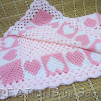 Handmade Crochet Baby Blanket / Pink White Hearts Scalloped / Crocheted Throw / Baby Girl / Shower Gift Idea / Vintage / FREE SHIPPING (169)