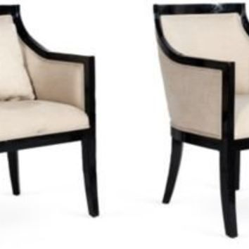 One Kings Lane - Kelly Wearstler: Santa Monica - Black Lacquer Upholstered Chairs, Pair