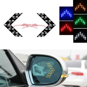 2pcs Arrow Turn Signal Light  14 SMD LED Panel Car Side Mirror Turn Signal Car Rear View Mirror Indicator Lights Car styling