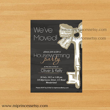 housewarming invitation,  New house KEY design chalkboard Invitation Card,  We have moved Invitation Card Design - card 191