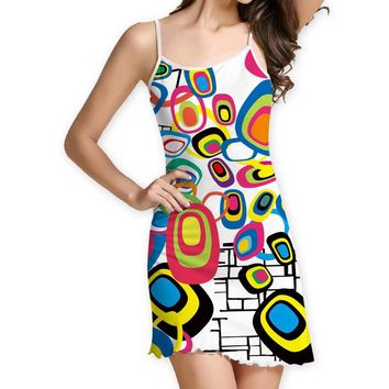 Small fresh digital print waist sling wooden ear dress